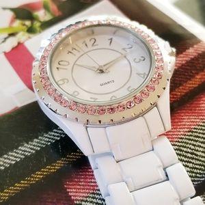 🌟HP🌟 Isaac Mizrahi white  pink rhinestone watch
